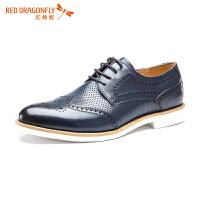 【红蜻蜓领�涣⒓�150】红蜻蜓真皮男鞋新款正品时尚系带商务正装鞋男士皮鞋男鞋