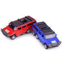 热卖 仿真合金六轮悍马合金车模型 儿童声光回力玩具汽车摆件