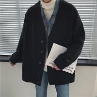 毛衣针织衫男加肥加大码开衫外套宽松V领线衣潮流胖子复古秋冬季