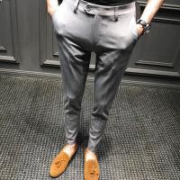 休闲西裤男修身2018新款韩版秋冬商务长裤英伦潮流男士正装九分裤