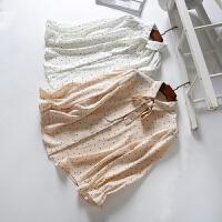 女装 春装新款 时尚百搭花边袖蝴蝶结系带波点雪纺衬衫女上衣