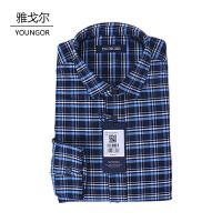 youngor/雅戈尔 新品保暖衬衣 BN16238HFA男士蓝色格子加厚保暖长袖衬衣