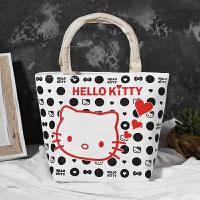 加厚牛津帆布包女手提包购物袋便当包妈妈买菜小布包手拎小包包 hello kitty黑 横向小号