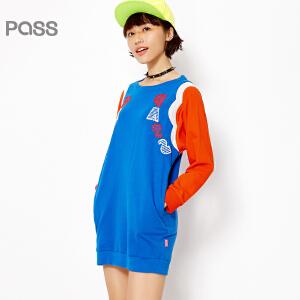 PASS女装春装新款 时尚撞色圆领宽松学生大码休闲短连衣裙6612411024
