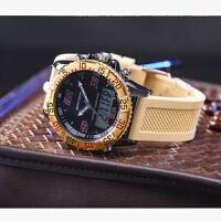 三达表多功能三针双显冷光电子表防水户外商务高端休闲运动男手表