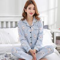 秋季睡衣女士长袖薄款韩版宽松大码开衫家居服套装全棉可外穿