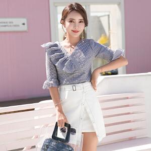 风轩衣度 2018年夏季套装/套裙都市纯色V领淑女甜美修身显瘦半身裙 2505-859