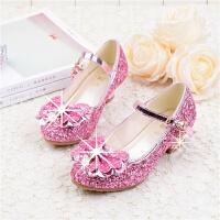 女童皮鞋高跟公主鞋春秋季韩版潮表演舞蹈百搭水晶亮片儿童单鞋女