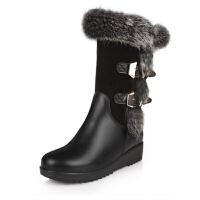秋冬兔毛雪地靴防水中跟坡跟女靴子真皮厚底中筒靴平底