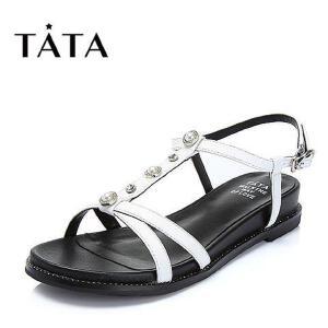 Tata/他她2018夏专柜同款牛皮珍珠水钻罗马鞋休闲女凉鞋FER11BL8