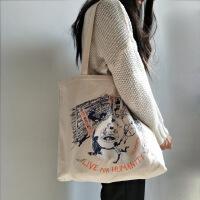 春夏季女包大的一只帆布包单肩包学生书包百搭大包包环保帆布袋