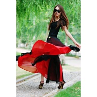 春夏新款显瘦双层雪纺裙沙滩裙舞裙修身开叉性感拖地半身长裙 黑中透红