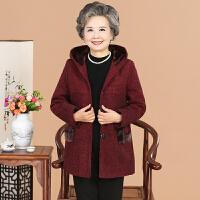中老年女装毛呢外套奶奶装加绒棉衣妈妈冬装大码上衣 XL(建议 80-105斤)