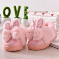 可爱公主亲子棉拖鞋女儿童包跟女童宝宝小孩室内防滑毛家居鞋冬季