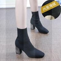 针织弹力靴女秋冬新款韩版水钻单靴短靴高跟中筒靴粗跟袜靴瘦瘦靴SN1738