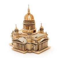 木制立体拼图3d高难度木质建筑手工制作木头模型超大城堡
