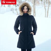 探路者羽绒服女 冬季户外女式防绒中长款加厚羽绒服TADF92822