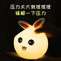兔子硅胶小夜灯创意充电款拍拍灯触摸感应儿童睡眠灯卧室床头台灯