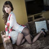 玫瑰花图案性感睡衣女夏透明网纱睡裙连体睡衣居家服配丝袜