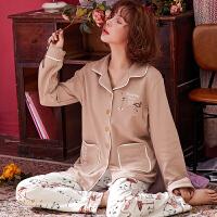 睡衣女秋季长袖韩版少女甜美可爱春夏宽松全棉薄款套装家居服