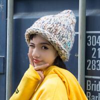 手工编织冰岛彩线毛线帽子青少年女尖尖针织帽女巫帽