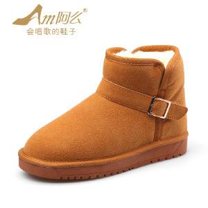 阿么2017冬季新款 绒里舒适保暖皮带扣雪地靴子