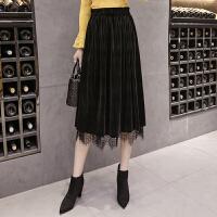 半身裙2018春装新款女韩版两面穿金丝绒蕾丝裙子百褶时尚半身长裙 黑色 均码