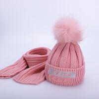 儿童帽子冬季1-8岁2大毛球加绒宝宝毛线帽潮男童女童围巾两件套装 粉色 卡兹秀套帽 均码