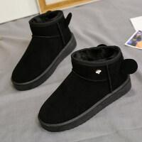 女式雪地靴女一脚蹬加厚新款冬季棉鞋瘦瘦加绒短筒短靴子