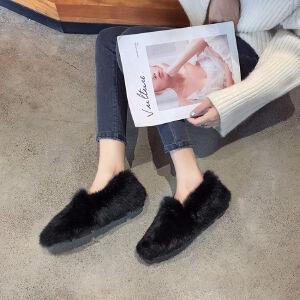 WARORWAR新品YM171-A88冬季韩版平底舒适女士乐福鞋毛毛鞋