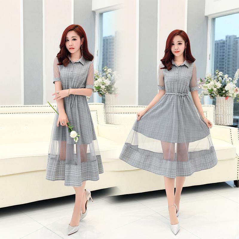 小清新裙子夏 收腰雪纺气质甜美短袖韩版文艺a字中长款少女连衣裙