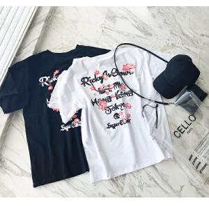 谜秀短袖T恤女2018夏装新款宽松bf风白色印花chic下衣失踪体恤潮