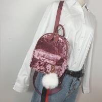 双肩包女韩版潮流休闲百搭金丝绒迷你背包时尚天鹅绒面旅行小包包