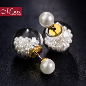 新年礼物Mbox耳钉 气质女韩国版原创采用波西米亚风元素耳钉耳环 白色泡沫