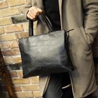 牛皮男包公文包时尚男士包包商务手提包横款单肩包斜挎男休闲背包 黑色
