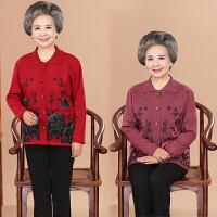 中老年人秋冬装女60-70岁加厚针织衫开衫外套妈妈羊毛衫奶奶毛衣