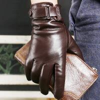 仿 手套男士冬季保暖皮手套骑行摩托车开车薄款加绒触屏羊皮手套