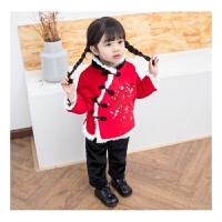 女童唐装宝宝周岁中国风民族儿童汉服改良冬装秋冬季加绒加厚两件