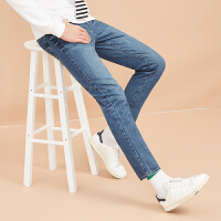 美特斯邦威旗下4M牛仔裤男士秋冬脚口磨破纯棉直筒裤子