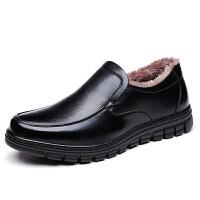 棉皮鞋男冬季休闲40岁50加绒保暖爸爸鞋真皮防滑软底60中老年棉鞋 黑色 四季单鞋黑色