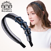 皇家莎莎发箍韩版宽边头箍仿水晶蕾丝布艺星星发夹发卡头饰品头花