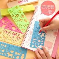儿童绘画图型模板 动物卡通造型尺塑料图案模板学画工具4把装包邮