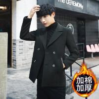 2018新款男式短款毛呢外套韩版修身双排扣秋冬加夹棉腻子孑尼泥大衣 黑色 加棉
