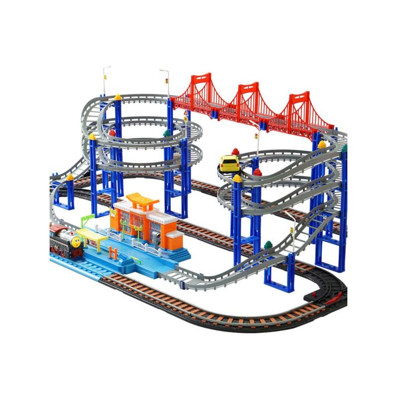 托马斯小火车套装轨道电动充电汽车实验学校拼插儿童玩具 抖音