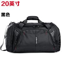 艾奔大容量单肩手提旅行包男女行李包斜跨旅行袋短途旅游健身包 黑色20英寸 大