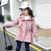 女童外套秋冬2018新款韩版洋气中长款儿童风衣小女孩大童加绒秋装