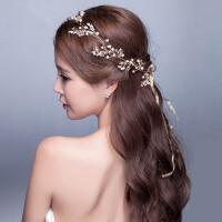 新娘发带头饰金色花朵盘发饰品手工结婚发饰婚纱发箍配饰首饰品