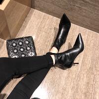 2018秋冬季新款小短靴瘦瘦弹力靴子女尖头细跟黑色高跟鞋裸靴
