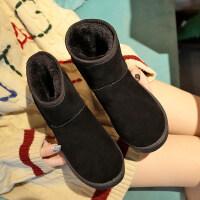 冬新款雪地靴百搭女短筒防滑加绒保暖磨砂短靴棉鞋学生面包