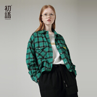 【开学季,满减价:160.8元】初语格子衬衫女秋装新款宽松中性bf风英伦翻领口袋长袖衬衣